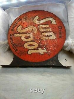 Original Vintage Double Sided Drink Sun Spot Bottled Sunshine Soda Tin Sign