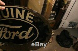 Original Vintage Ford Metal Sign Tin Dealer Advertising Gas Oil Car Truck Gas