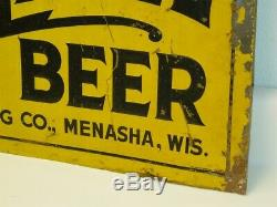 Original Vintage Gold Label Beer Tin Sign, Walter Bros. Brewing Co. Menasha WIS