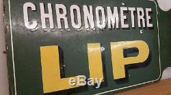 Original Vintage Lip Chronemetre Watch Advertising Enamel Sign Not Tin