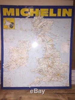 Original Vintage Michelin Metal Tin Uk Road Map Garage