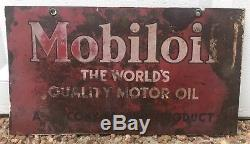 Original Vintage MobilOil Store Gas Oil Advertising Shop Double Sided Tin Sign