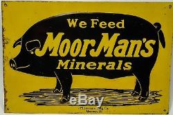 Original Vintage Moorman's Moor Man Embossed Tin Sign Country Pig Hog Quincy IL