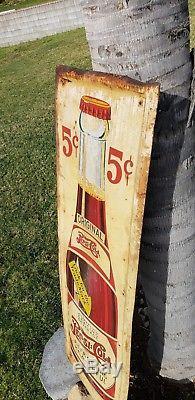 Original Vintage Pepsi Cola 5 Cents Double Dot 48x16 Tin Sign 1930's Self Framed