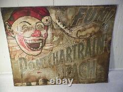 Original Vintage Ponchartrain Beach tin sign 1930s Amusement Park Carnival Clown