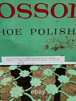 Original Vintage Tin Plate Cherry Blossom Shoe Polish Advertising Sign