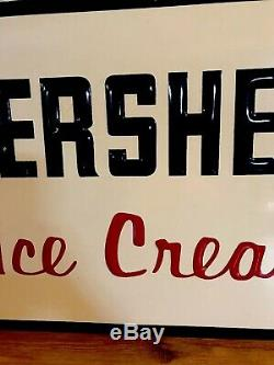 Original Vintage c. 1950s-1960s Hershey Ice Cream Farm Cow Milk Dairy Tin Sign