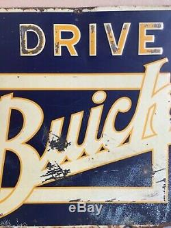Original Vtg Antique 1920s We Drive a Buick Embossed Tin Gas Oil not porcelain