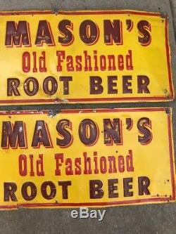 PAIR MASON'S OLD FASHIONED ROOT BEER EMBOSS TIN Original Sign Metal VINTAGE Vtg