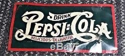 Pepsi Cola sign Tin Embossed Original Antique Vintage 1920s