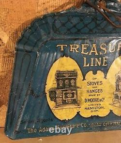 RARE 1910's VINTAGE TREASURE LINE STOVES & RANGES BLUE TIN LITHO DUSTPAN