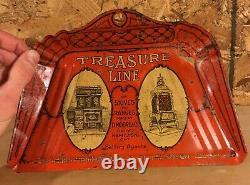 RARE 1910's VINTAGE TREASURE LINE STOVES & RANGES RED TIN LITHO DUSTPAN
