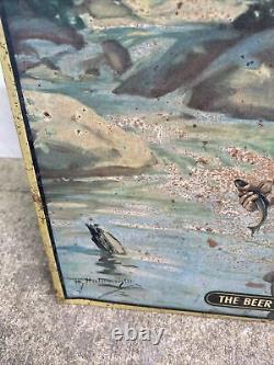 RARE 1950's Vintage Champagne Velvet Beer tin sign Terre Haute Brewing Co