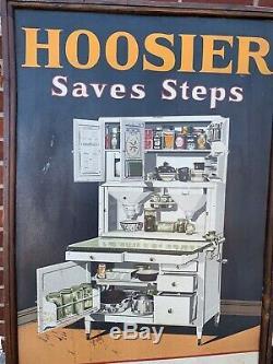 RARE ANTIQUE 1927 Vintage Hoosier Tin Kitchen Cabinet sign