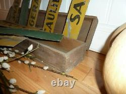 RARE Antique Lot 8 Tin Metal Farm Stand Signs With Vintage Wood Box Advertising