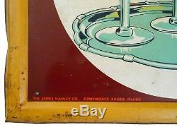 RARE HANLEY'S ALE-LAGER PROVIDENCE, RI LG 55 x 19 PRESSED TIN ENAMEL BEER SIGN