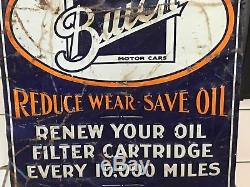 RARE ORIGINAL Early BUICK AC OIL FILTER Tin Tacker Sign GaS OiL Vintage OLD WOW