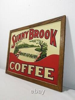 RARE ORIGINAL Vintage SUNNY BROOK COFFEE METAL SIGN Cafe Art Advertising Tin