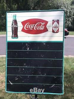 RARE VINTAGE COCA COLA FISHTAIL WithBOTTLE AND CAN TIN MENU BOARD SIGN