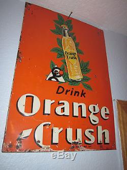Rare Vintage Original 1930s Embossed Orange Crush Crushy