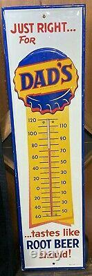 RARE VINTAGE ORIGINAL DADS ROOT BEER TIN THERMOMETER SIGN WoW