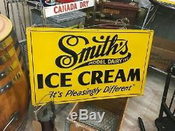 RARE VTG Original SMITH'S Model Dairy ICE CREAM EMBOSSED TIN Advertising SIGN