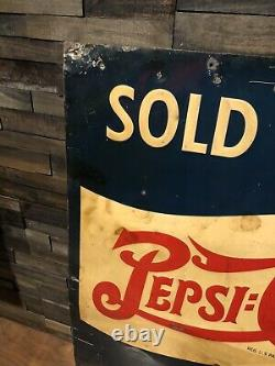 RARE Vintage 1930s Pepsi Cola Sold Here Soda Advertising Tin Sign Double Dot