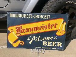 RARE Vintage 1940s Braumeister Pilsner Beer Tin Advertising Sign Milwaukee