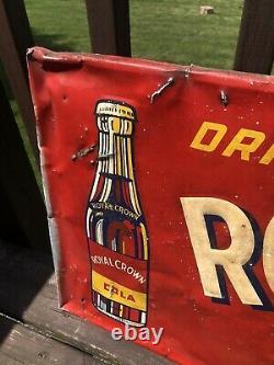 RARE Vintage 1949 Royal Crown RC Cola Tin Metal Advertising Soda Sign 53.5 x 18