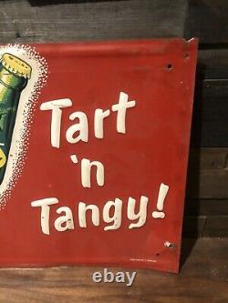 RARE Vintage 1950s Quiky Soda Advertising Tin Metal Sign