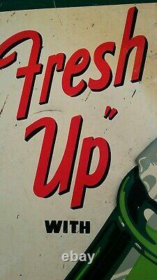 RARE Vintage 1953 Fresh Up with 7up Embossed Tin Sign