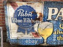 RARE Vintage 1960s Pabst Blue Ribbon Beer Tin Metal Sign Beer LARGE 4ft X 8ft