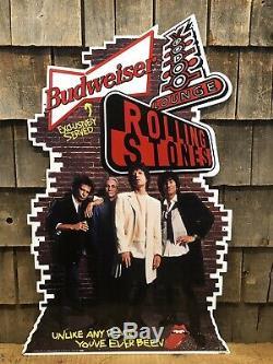 RARE Vintage 1994 Budweiser Beer Rolling Stones Voodoo Lounge Die Cut Tin Sign