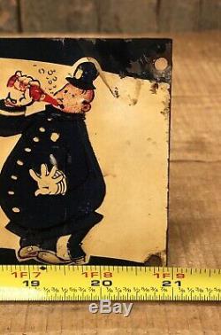 RARE Vintage 40s PEPSI COLA Coke Double Dot Keystone Cops Tin Embossed Sign
