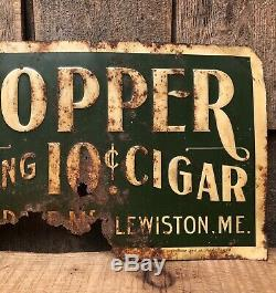 RARE Vintage Antique The HOPPER Leading 10c Cigar Lewiston Maine Tobacco Sign