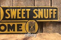 RARE Vintage Dental Sweet Snuff WELCOME Pharmacy Drug Store Tin Sign Door Push