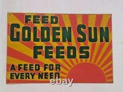 RARE Vintage Golden Sun Feed Feeds Farm Tin Sign Agriculture Advertising