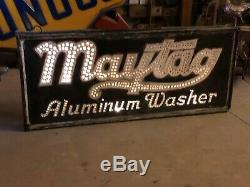 RARE Vintage ORIGINAL MAYTAG ALUMINUM WASHER Sign PUNCHED TIN 1920's PRE NEON