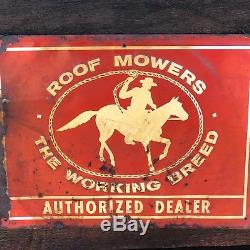 RARE Vintage ROOF LAWN MOWERS Authorized Tin DEALER Advertising Metal SIGN