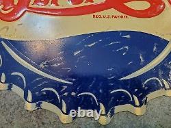 RARE Vtg Metal Tin Soda Bottle Cap Sign Sgl Side Dbl Dot PEPSI-COLA M-106 USA