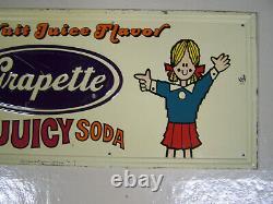 RARE original vintage 1960's era GRAPETTE THE JUICY SODA embossed tin sign
