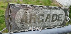 Rare Antique Arcade Reverse On Glass Foil Cut Scalloped Edge Sign ROG Tin Frame
