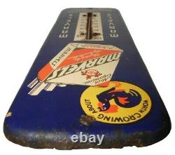 Rare Early 20th C Marvels Cigarettes 12 Advert Litho'd Enml Tin Thermometer
