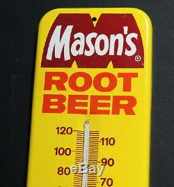 Rare NOS authentic 1960s-70s vtg MASON'S Root Beer Tin THERMOMETER Sign Soda Pop