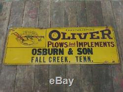 Rare OLIVER Fall Creek TN Embossed Tin Tacker Sign Farm Tractor Plow Vintage Old