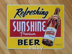 Rare Original Vintage Sunshine Brewing Co. Tin Beer Advertising Sign Reading Pa