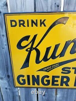 Rare Vintage 1920's DRINK Kuntz's STONE GINGER BEER Embossed Tin Metal SST Sign