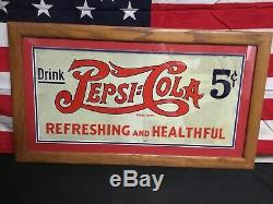 Rare! Vintage 1930s Pepsi Cola Double Dot Embossed Tin Sign Original. Large Size