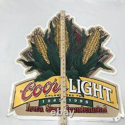 Rare Vintage 90s Coors Light Beer Tin Sign Corn Iowa Sesquicentennial Misprint