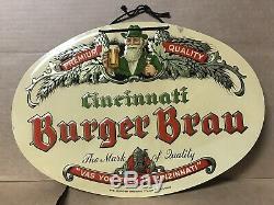 Rare Vintage Burger Brau Tin Sign. Burger Brewing Cincinnati Ohio Breweriana